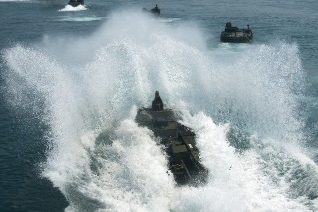 Gulf of Thailand (Feb. 08, 2009) - An amphibious assault vehicle (AAV) assigned to the 31st Marine Expeditionary Unit (MEU) launches from the well-deck of the forward-deployed landing dock ship USS Harpers Ferry (LSD 49) during exercise Cobra Gold 2009.  Harpers Ferry and the 31st MEU are taking part in Cobra Gold, which is an annual Thailand and U.S. co-sponsored joint coalition multinational military exercise designed to train a Thai, U.S. and Singaporean Coalition Task Force.
