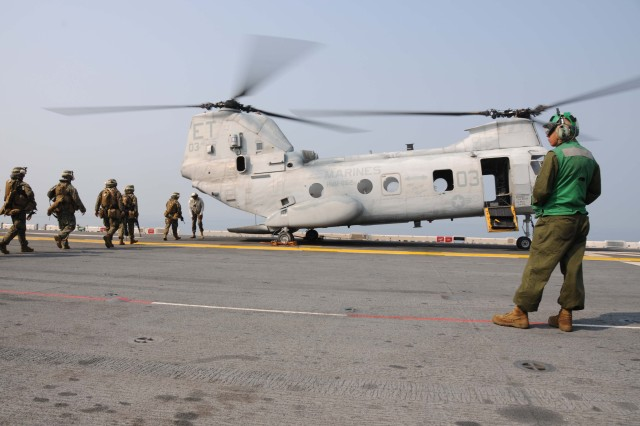 Helicopter on USS Essex