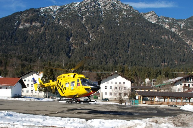 The ADAC rescue helicopter Murnau Christoph lifts off en route to another mission after responding to an emergency call at Artillery Kaserne on U.S. Army Garrison Garmisch, Germany.