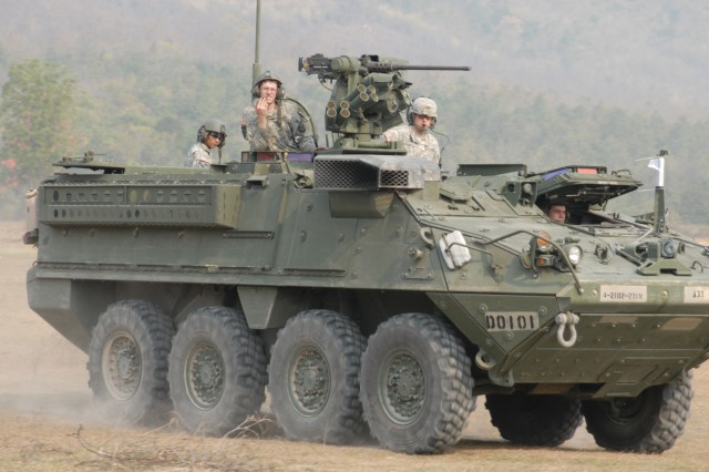 PHITSANULOK, Thailand - A M117 Stryker Improvised Carrier Vehicle from 4th Brigade, 2nd Infantry Division returns to the training area after conducting squad-level training.  This is the first time that the Stryker ICV has been used during Cobra Gold.