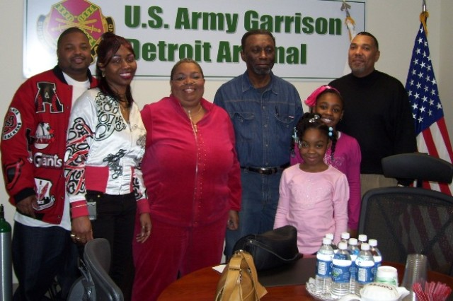Maj. Patillo's family (mother Cleonia, center) at the VTC for her promotion ceremony.