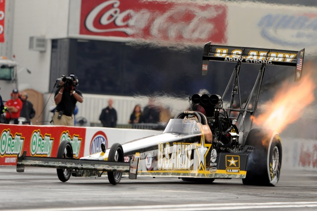 Tony Schumacher drives his U.S. Army Strong Top Fuel Dragster to victory at 312.42 miles per hour in his first pass at the NHRA Full Throttle Drag Racing Series-opening Kragen O'Reilly Auto Parts Winternationals Feb. 8 at the Auto Club Raceway in Pomona, Calif. He was eliminated in the second round.