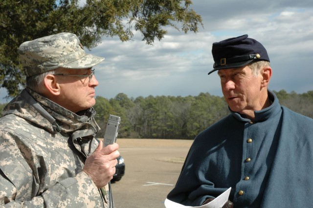 Maj. Eugene Allardyce (left), officer in charge of the 48th Military History Detachment in Indianapolis, interviews Jason Wetzel, U.S. Army Reserve historian, Feb. 3 during the Basic Combat Historian Qualification Course.  Wetzel was role-playing as Capt. Luis Lambert, assistant adjutant corps, 3rd Division, 14 Corp, Union Army of the Cumberland.  The field exercise, held in the Chicamauga and Chattanooga National Military Park, teaches Soldiers how to collect and catalog data for chronicling the Army's history.