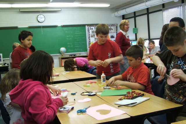 Students in Crete, Neb., make Valentine's Day cards as part of a school-wide project for Soldiers. Nearly 500 students, faculty and teachers hand-made almost 1,000 cards, which were distributed to Soldiers in Heidelberg, Mannheim and Kaiserslautern.