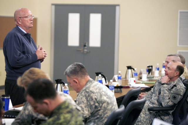 I Corps and Fort Lewis Commanding General Lt. Gen. Charles H. Jacoby Jr. and members of his staff listen to retired Army Chief of Staff Gen. Gordon R. Sullivan.