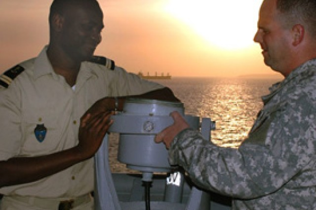 Capt. Alberto Ceffalo, a North Carolina National Guard officer attached to U.S. Army Africa, aboard the USS Nashville.  Capt. Ceffalo is participating in a training, goodwill and outreach mission to five West African nations.  Feb. 5, 2009.