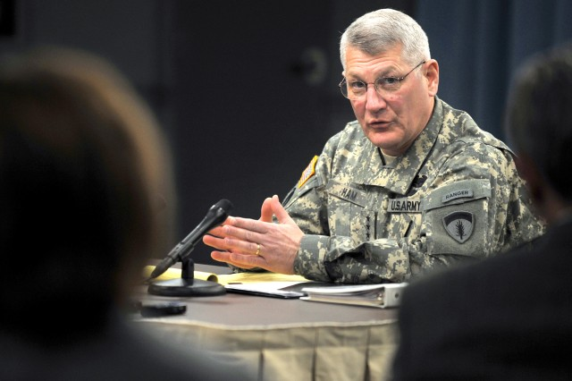 U.S. Army Europe Commander Gen. Carter F. Ham discusses the future of the Army in Europe during a press conference at the Pentagon, Feb. 17. Ham told reporters he wants to retain some forces in Europe that are scheduled to return to the U.S., to keep pace with evolving USAREUR missions.