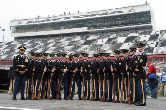 The U.S. Army Drill Team at Daytona 500