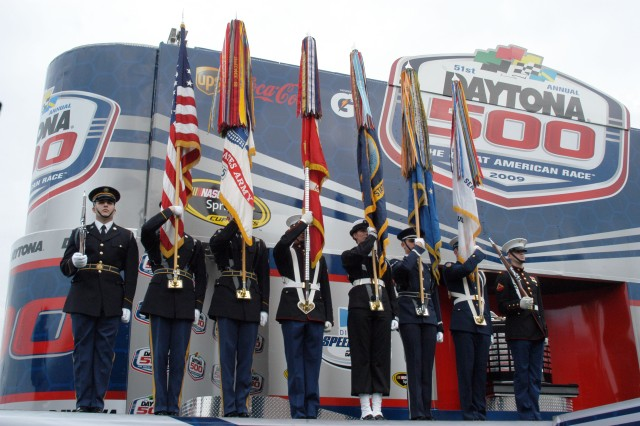 The Joint Armed Forces Color Guard presents the colors for the National Anthem before the start of the race at Daytona 500, Daytona Beach, Fl.