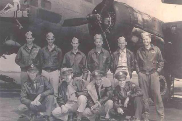 Members of the crew of the WWII B-17 the Susan Ruth:  Bottom row from left, Howard Snyder, pilot, George Eike, co-pilot, Robert Benniger, navigator, Richard Daniels, Bombardier. Top row: Roy Holbert, top turret, Louis Colwart, ball turret, Ross Kahler, radio operator, John Pindroch, right waist gunner, Joseph Musial, left waist gunner and William Slenker, tail gunner.