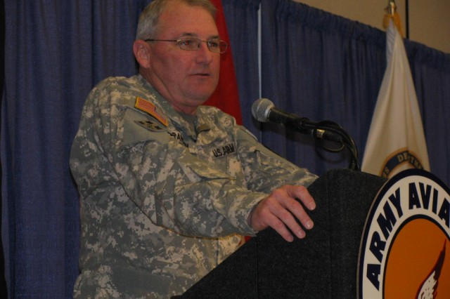 Maj. Gen. James Barclay III, commander of the Army Aviation Center of Excellence and Fort Rucker, speaks to aviation industry and military representatives at Thursday's 35th annual Joseph P. Cribbins Aviation Product Symposium hosted by the Tennessee Valley Chapter of the Army Aviation Association of America.