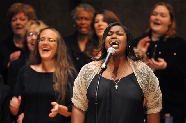 """Operation Rising Star winner Joyce Dodson sings """"Faith and Hope,"""" written by U.S. Army Soldier Show director Victor Hurtado and David Ylvisakir, as part of the Steven Roberts Learn to Sing Gospel Workshop and Concert Feb. 7 at the First Presbyterian Church in Pasadena, Calif."""
