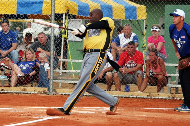 Ten-time All-Army Softball outfielder Staff Sgt. Dexter Avery digs in against All-Air Force at the Armed Forces Softball Championship Tournament.