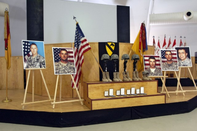 A memorial service was held Feb. 13 on Forward Operating Base Marez in Mosul, Iraq for four Soldiers and an interpreter that were killed when a suicide vehicle-borne improvised explosive device detonated near their vehicle Feb. 9. Among the fallen was Lt. Col. Gary Lt. Col. Derby, the commanding officer of 3rd Bn., 8th Cav. Reg., 3rd Heavy Bde. Combat Team, 1st Cav. Div.