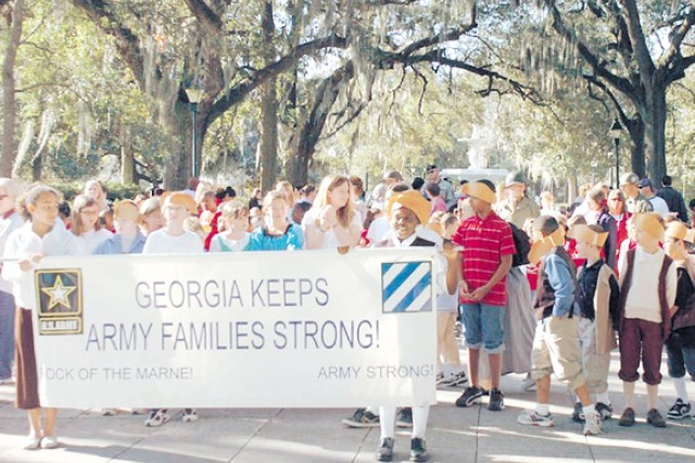 Students from Fort Stewart's Diamond Elementary and 3rd ID Soldiers participated in the Georgia Day Parade Feb. 12 that started at Savannah's Forsyth Park. The annual parade celebrates Georgia's history and heritage.