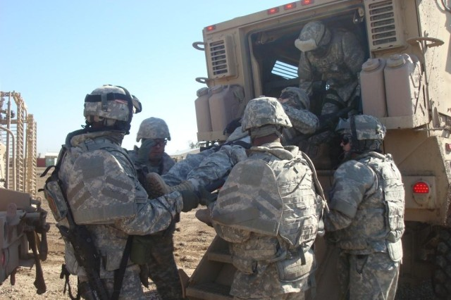 CAMP TAJI, Iraq - Sappers from 848th Engineer  Company, 890th Engineer Battalion, 225th Engineer  Brigade, stay on top of their game by continuously conducting battle drills and rehearsals of situations they may face while conducting route clearance missions in Feb. 16.