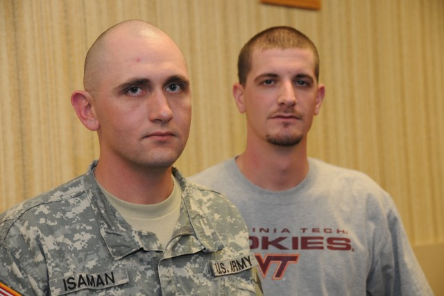 Sgt. Daniel Isaman and Spc. Joshua Grant are battle buddies.  That was evident in late 2008 and early 2009 when Isaman wholeheartedly assisted Grant when he underwent surgery and was hospitalized. Both Soldiers are assigned to the Warrior Transition Unit at Fort Lee, Va., and both served in Iraq.  Grant is currently on terminal leave.