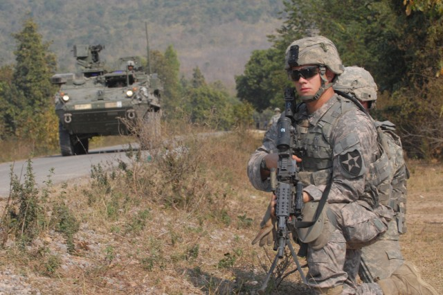 The 2nd Infantry Division's, 5th Stryker Brigade Combat Team will bring about 4,000 Soldiers and nearly 300 Strykers to the fight in Afghanistan this summer. After the decision by President Obama to send the Soldiers to Afghanistan, brigade leaders adjusted their training to reflect the conditions they will experience on the ground. (File photo)