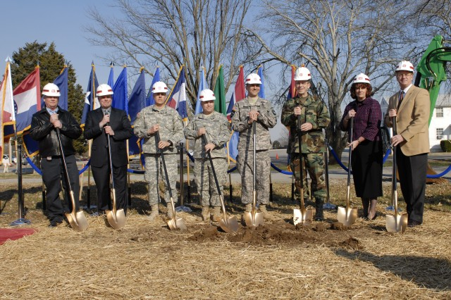 Admiral Mike Mullen, Commander Joint Chiefs of Staff of the United States military (third from right) joined with Fort Campbell officials and construction contractors for the Feb. 20 groundbreaking ceremony of the Fort Campbell Solider and Family Assistance Center. The SFAC is a $5 million project with 15,000 square feet and is estimated to be complete in February, 2010.