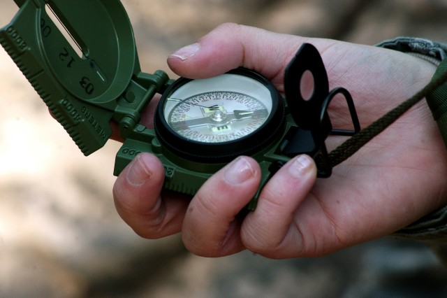 A Soldier assigned to the Army Reserve's 81st Regional Support Command makes a final azimuth check before embarking on a two-hour land navigation course at Fort Jackson, S.C. The command used the weekend battle assembly to sharpen several Soldier skills along with performing their mission of base operations for the southeastern portion of the U.S.