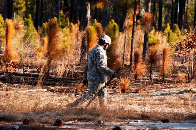 2nd Lt. Albert Johnson, from Columbia, S.C., and assigned to the 81st Regional Support Command., checks his pace count prior to engaging in a two-hour land navigation course at Fort Jackson, S.C. The command used the weekend battle assembly to sharpen several Soldier skills along with performing their mission of base operations for the southeastern portion of the U.S.