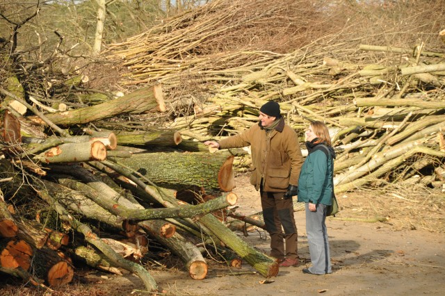 Army environmental technician Gordon Adam and consultant Anja Lundquist examine felled trees at the Sand Dunes Local Training Area.