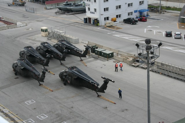Army aircraft bound from Afghanistan to the U.S. are prepositioned on the dock at Rota, Spain.