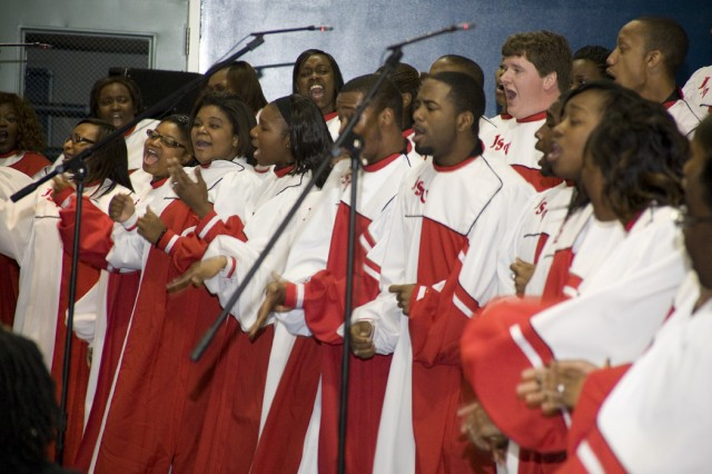 The Jacksonville State University Gospel Choir performs during Anniston Army Depot's Black History Month Program on Feb. 11.