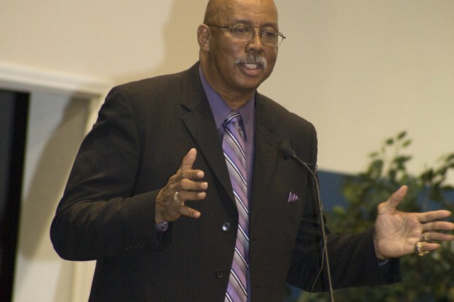 Nevil Shed, who made a mark in history when he and his African-American Texas Western teammates beat an all-white University of Kentucky team and won the NCAA championship in 1966, was the guest speaker at the depot's Black History Month program .