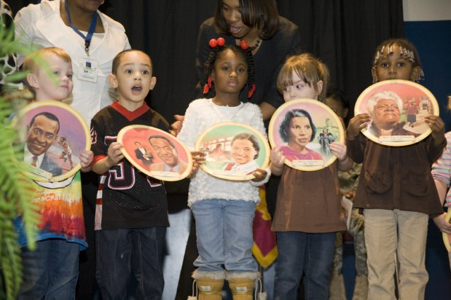 Preschoolers from the depot's Child Development Center share tidbits about outstanding African-American figures at the Black History Month program.
