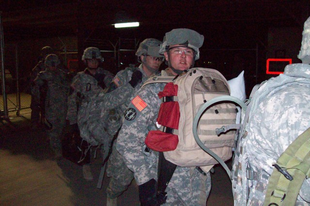 Soldiers from 2nd Brigade Combat Team, 1st Cavalry Division, arrive at Forward Operating Base Warrior, Kirkuk, Iraq on Jan. 25. 2 BCT will be taking over the area of operations around FOB Warrior, and will be working closely with Iraqi counterparts.
