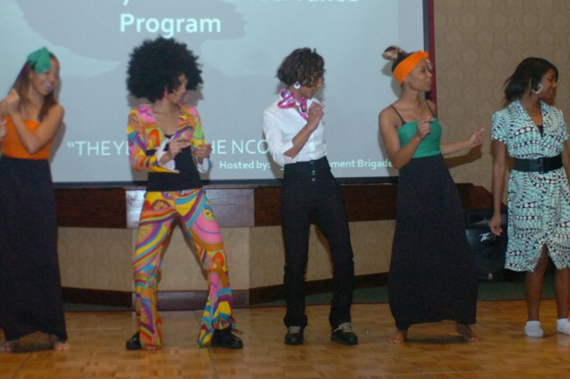 High School Students from Bradwell Institute in Hinesville Georgia, perform popular dances from various eras during the 3rd Infantry Division Black History Obervance at Club Stewart Feb. 24.