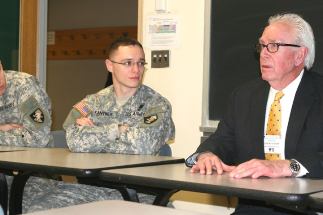 """Retired Col. Vic Letonoff, USMA class of 1960, was one of eight 1960 alumni to talk with class of 2010 cadets about interaction with noncommissioned officers during a class on the professional military ethic in Thayer Hall Friday. Letonoff and the class also viewed, """"Outside the Wire,"""" an interactive DVD that teaches how a new platoon leader's decisions affect his/her Soldiers in positive and negative ways. Cadet's found their first important decision wasn't on the battlefield but during their first meeting with their platoon sergeants."""