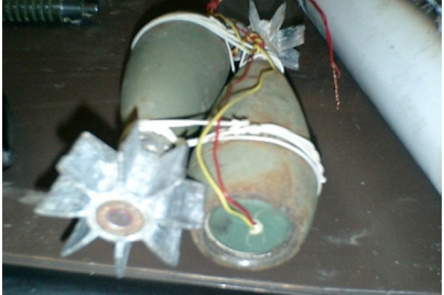 A cell phone rigged as a detonator for an Improvised Explosive Device in Iraq.
