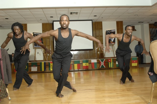 CUTLINE: The Lincoln University Dance Troupe dances for the audience during the Black History Month luncheon. Photo by Carolyn Erickson