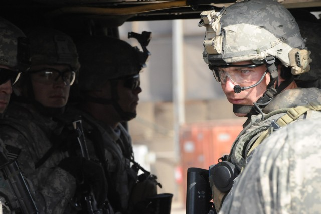 FORWARD OPERATING BASE LOYALTY, Iraq - Paratroopers assigned to Troop B, 5th Squadron, 73rd Cavalry Regiment, 3rd Brigade Combat Team, 82nd Airborne Division, Multi-National Division-Baghdad, wait inside a UH-60 Blackhawk helicopter during an aerial response force training exercise Feb. 25 at Forward Operating Base Loyalty in eastern Baghdad. The exercise gave Paratroopers the basic procedures to react as a quick response force.