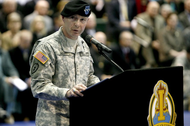 Lieutenant General Charles H. Jacoby speaks, Feb. 24, during the I Corps deploment ceremony at Soldiers Field House.