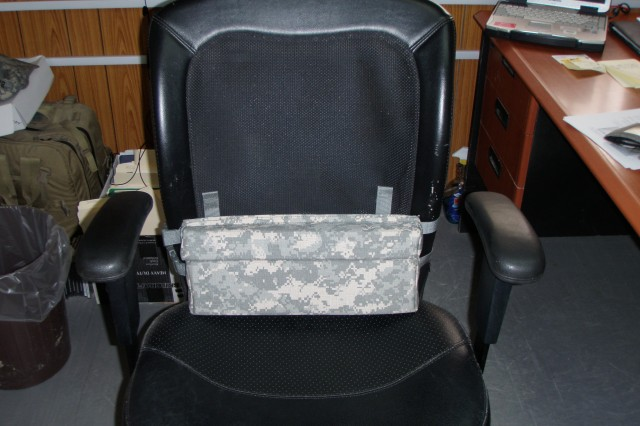 The prototype lumbar support system, as shown attached to a chair.  Nearly 200 of the new support systems are scheduled to be field-tested by Soldiers of the 16th, 287th, 304th and 371st Sustainment Brigades. (U.S. Army courtesy photo)