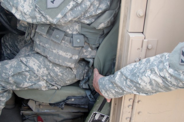 The prototype lumbar support system, as shown attached to the seat of a tactical vehicle.  Nearly 200 of the new support systems are scheduled to be field-tested by Soldiers of the 16th, 287th, 304th and 371st Sustainment Brigades. (U.S. Army courtesy photo)