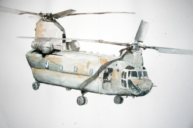 A painting of a Vietnam era Chinook helicopter by Joseph Heeg, who will be the premiere artist at the Arts and Cultural Center set to open March 7, in the Patrick Henry Village Pavilion in Heidelberg, Germany.