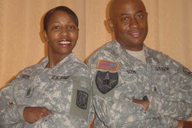 Command Sgts. Maj. LaToya and Richard Sizer share more than just their rank - they have been married for 17 years and have two boys. They have experienced the ups and downs of military life together as a family.