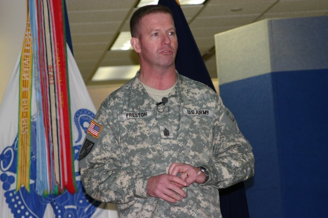 """Sergeant Major of the Army, Kenneth O. Preston, visited with U.S. Army Forces Command, U.S. Army Reserve Command, and U.S. Army Central Command Noncommissioned officers at Fort McPherson, Ga., February 27 in celebration of the """"Year of the NCO."""" Recognize, inform and enhance were among the themes listed for this year\'s focus on noncommissioned officers."""