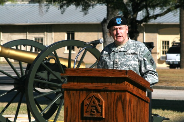 """Lt. Gen. Thomas R. Turner, commanding general, U.S. Army North, speaks to U.S. Army North Soldiers and civilians March 2, 2009, at Fort Sam Houston about the Army wide suicide awareness """"stand-down"""" day.  After Lt. Gen. Turner spoke to the Soldiers and civilians, each section conducted individual suicide awareness training."""