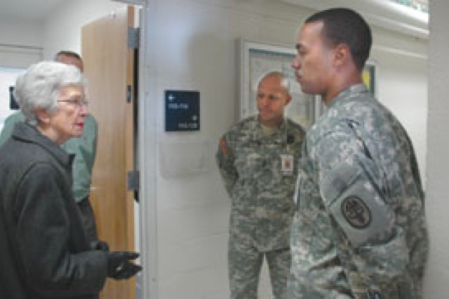 Retired Brig. Gen. Evelyn Foote, speaks with Soldiers at the Warriors Transition Unit during her visit to the post Tuesday.