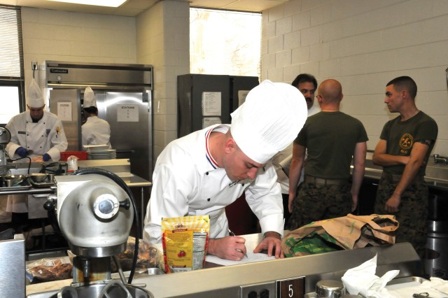 Sgt. Edward Windhurst competes for the title of Armed Forces Chef of the Year during the 34th U.S. Army Culinary Arts Competition, March 3, 2009. Windhurst is a member of the Fort Sill, Okla., team.
