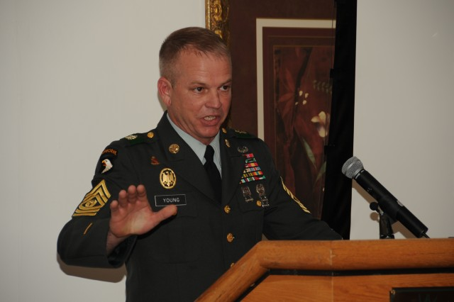 FORT CARSON, Colo.-Command Sgt. Maj. Terry G. Young, Division West (First Army) and Fort Carson, addresses a crowd at the Year of the Noncommissioned Officer ceremony at the Elkhorn Conference Center Feb. 25.