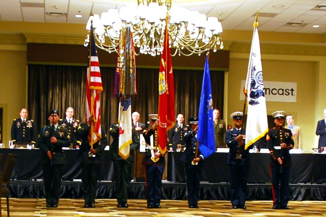 A joint military color guard presented the colors at the Savannah Chamber of Commerce Military Appreciation Luncheon, Feb. 27, at the Westin Savannah Harbor Golf Resort and Spa.