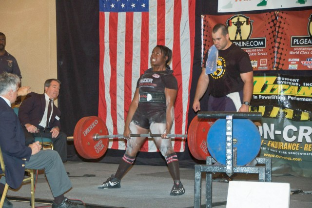 A Fort Hood, Texas, Family member, Daliann James-Swanger, 21, lifts 507 pounds in the deadlift finals to take first place in 181 lbs. class. She was selected to compete in Junior Worlds Championships in Brazil in September and the Open Worlds Championships in India in November.