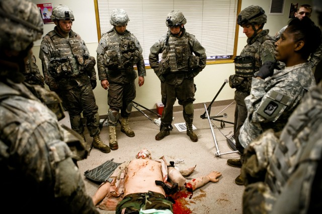 A training dummy lies on the ground as Soldiers are assessed, Feb. 25.