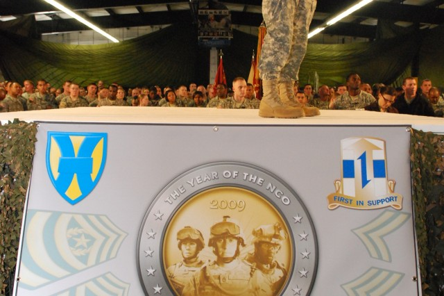 To kick start the Year of the NCO in the Europe, the Army's highest ranking NCO, Sgt. Maj. of the Army Kenneth Preston, spoke to servicemembers at Rhine Ordnance Barracks March 4.  Preston praised NCOs for their contributions to the Army's success in fighting the Global War on Terror.